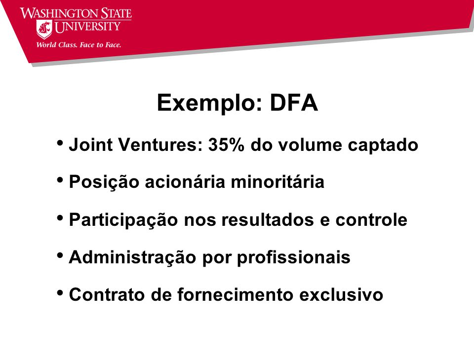 Exemplo: DFA Joint Ventures: 35% do volume captado
