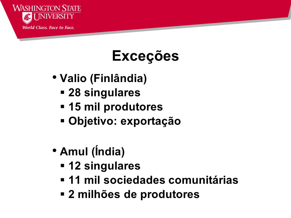Exceções Valio (Finlândia) 28 singulares 15 mil produtores