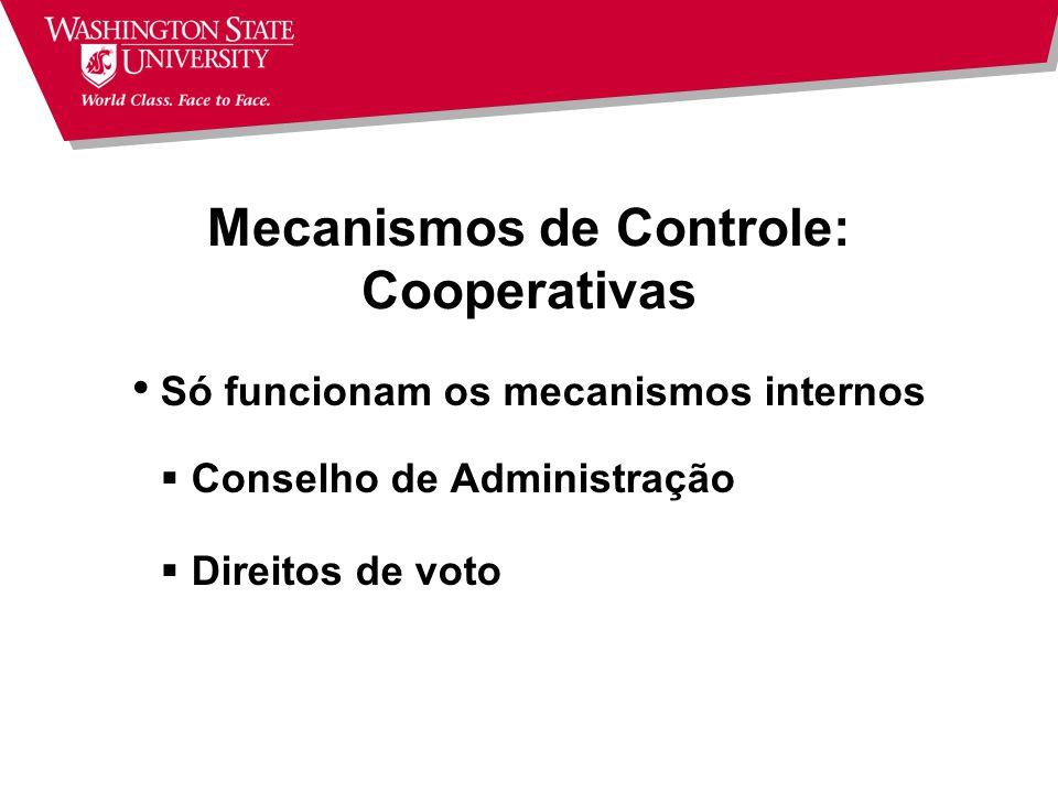 Mecanismos de Controle: Cooperativas