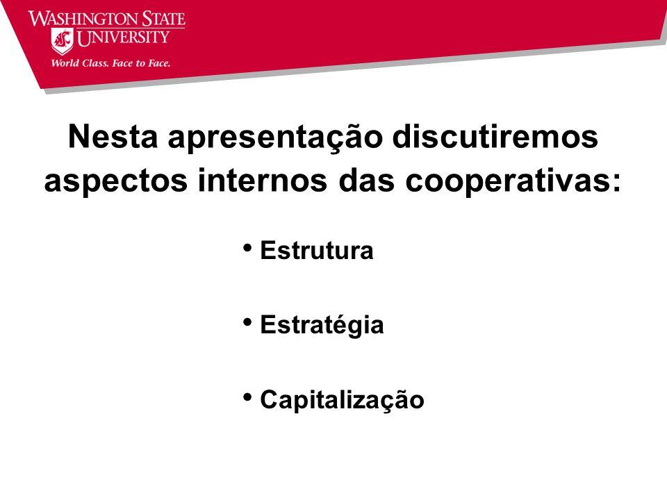 Nesta apresentação discutiremos aspectos internos das cooperativas: