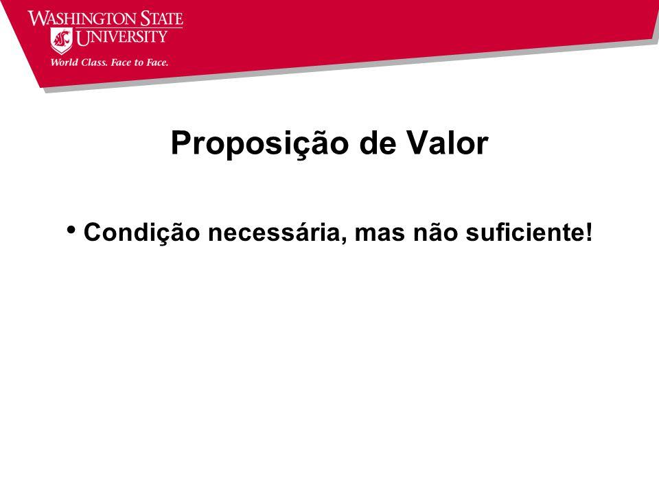 Proposição de Valor Condição necessária, mas não suficiente!