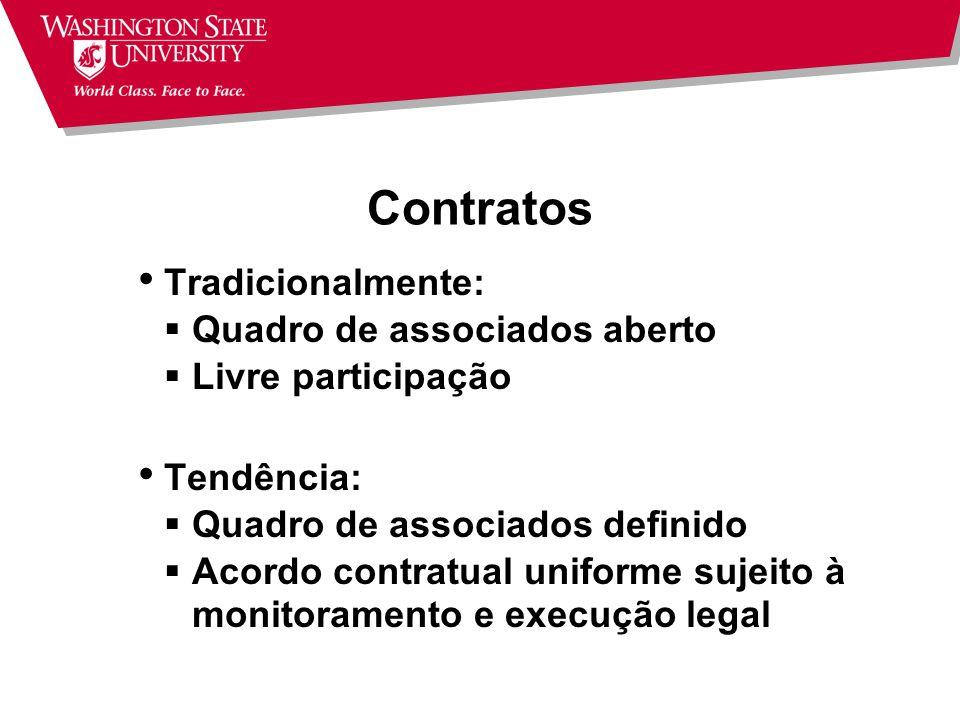 Contratos Tradicionalmente: Quadro de associados aberto
