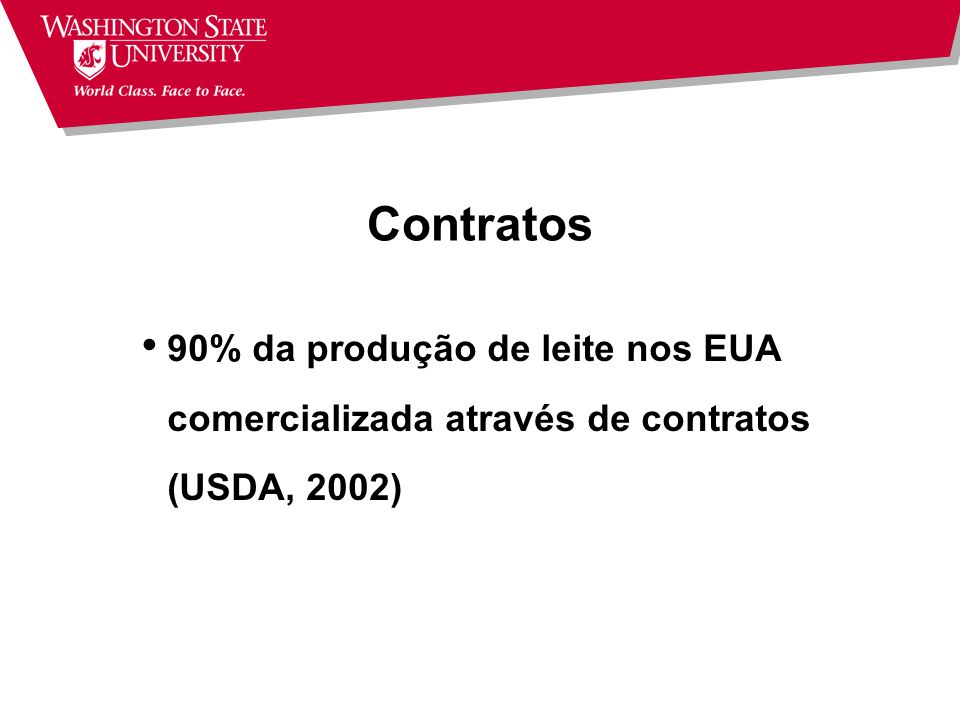 Contratos 90% da produção de leite nos EUA comercializada através de contratos (USDA, 2002)
