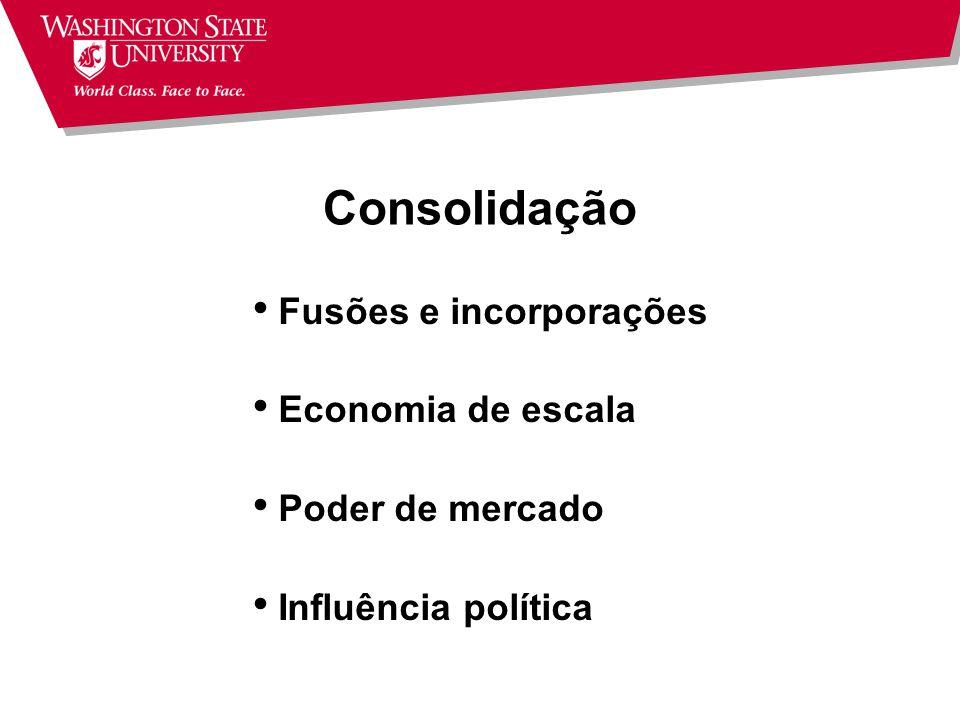 Consolidação Fusões e incorporações Economia de escala