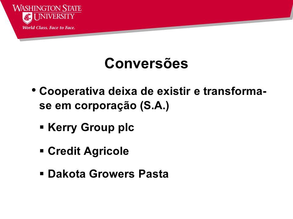 Conversões Cooperativa deixa de existir e transforma-se em corporação (S.A.) Kerry Group plc. Credit Agricole.