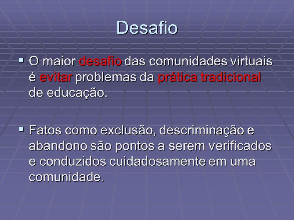 Desafio O maior desafio das comunidades virtuais é evitar problemas da prática tradicional de educação.