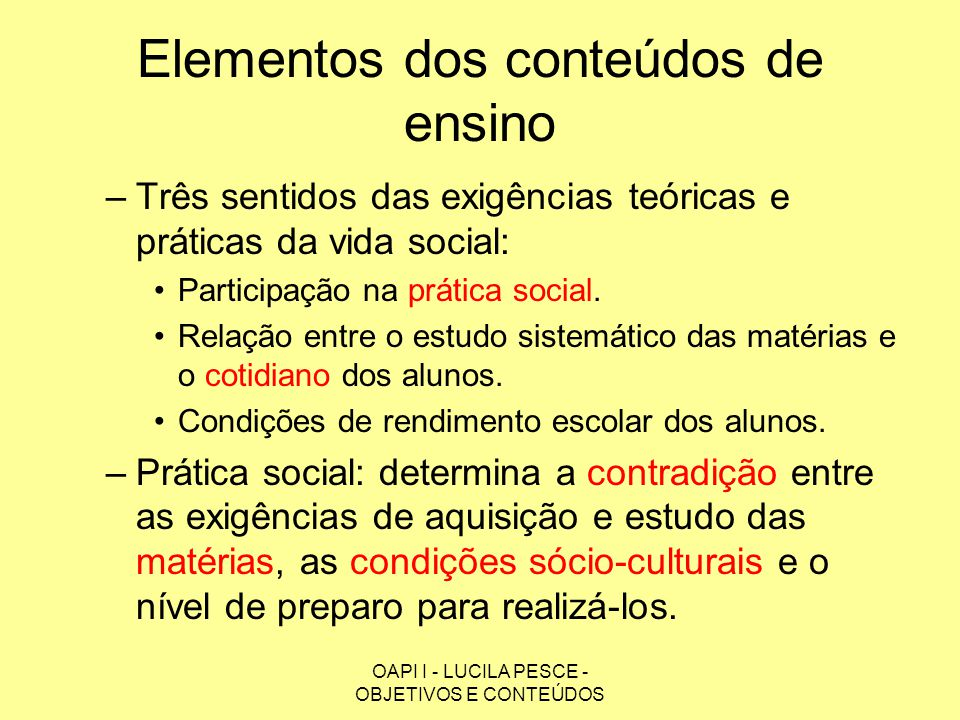 Elementos dos conteúdos de ensino