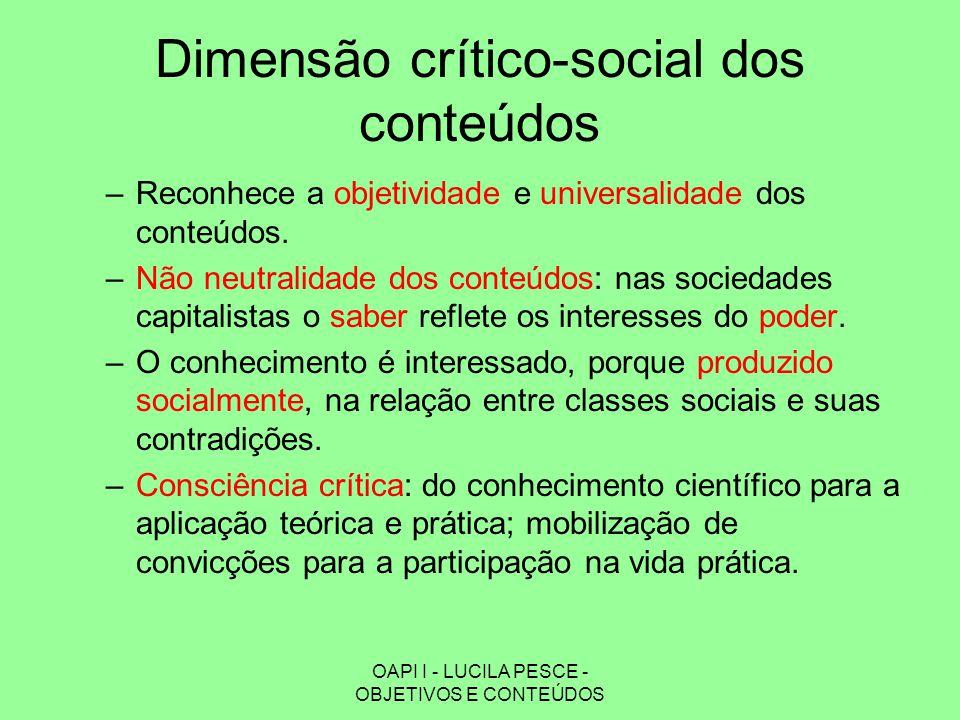 Dimensão crítico-social dos conteúdos