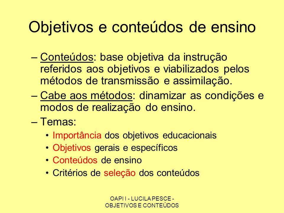 Objetivos e conteúdos de ensino
