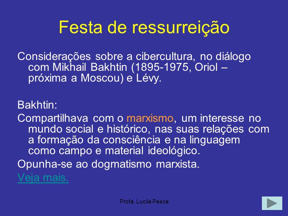 Festa de ressurreição Considerações sobre a cibercultura, no diálogo com Mikhail Bakhtin (1895-1975, Oriol – próxima a Moscou) e Lévy.