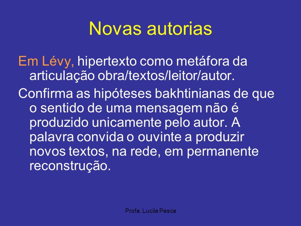 Novas autorias Em Lévy, hipertexto como metáfora da articulação obra/textos/leitor/autor.