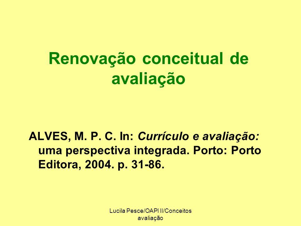 Renovação conceitual de avaliação