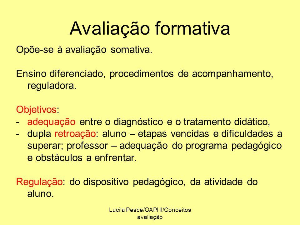 Lucila Pesce/OAPI II/Conceitos avaliação