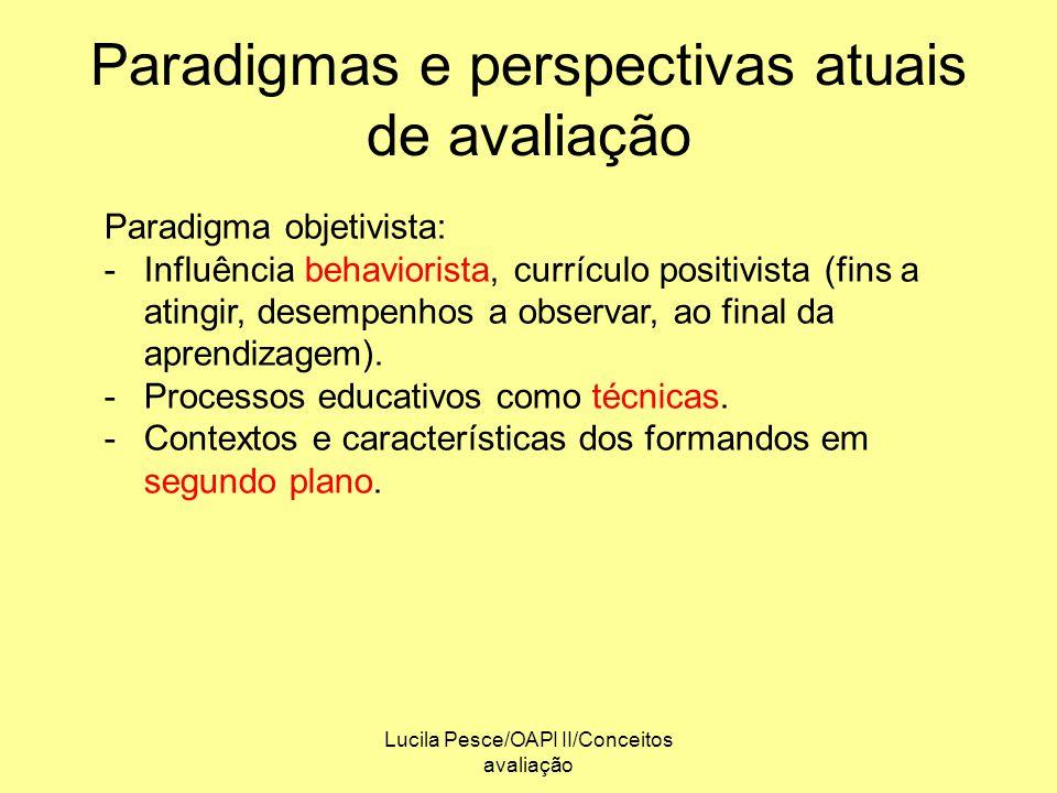 Paradigmas e perspectivas atuais de avaliação