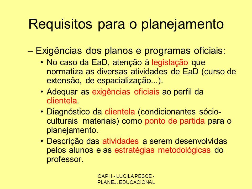 Requisitos para o planejamento