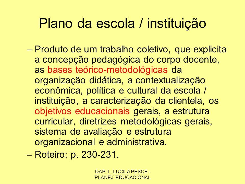 Plano da escola / instituição
