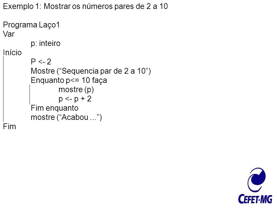 Exemplo 1: Mostrar os números pares de 2 a 10