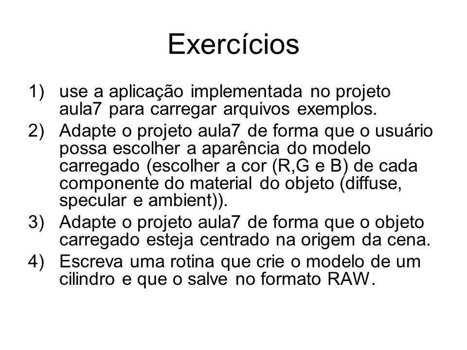 Exercícios use a aplicação implementada no projeto aula7 para carregar arquivos exemplos.
