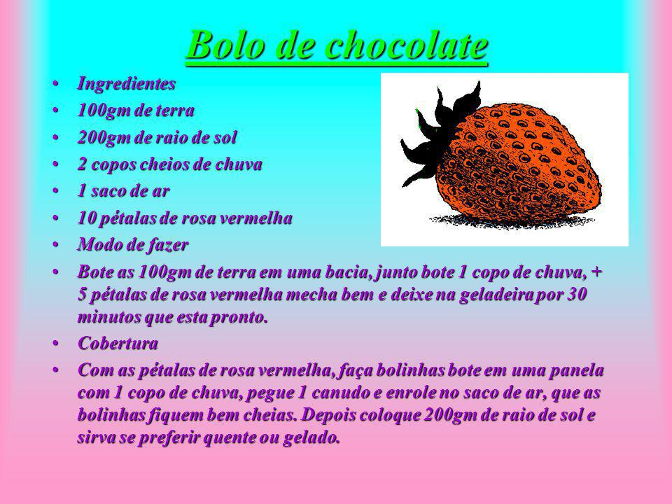 Bolo de chocolate Ingredientes 100gm de terra 200gm de raio de sol