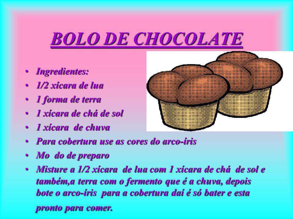 BOLO DE CHOCOLATE Ingredientes: 1/2 xícara de lua 1 forma de terra