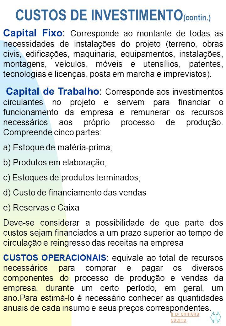 CUSTOS DE INVESTIMENTO(contin.)
