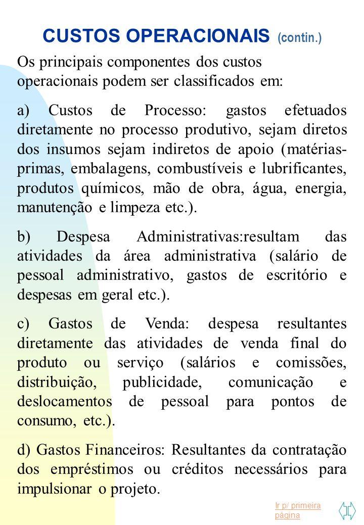 CUSTOS OPERACIONAIS (contin.)