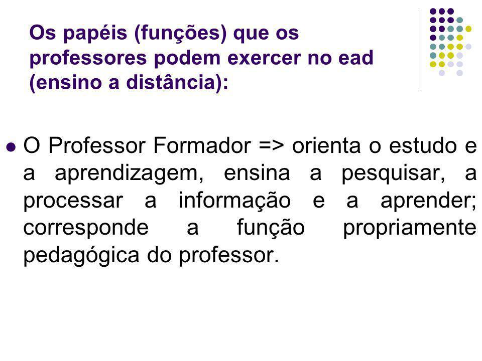 Os papéis (funções) que os professores podem exercer no ead (ensino a distância):