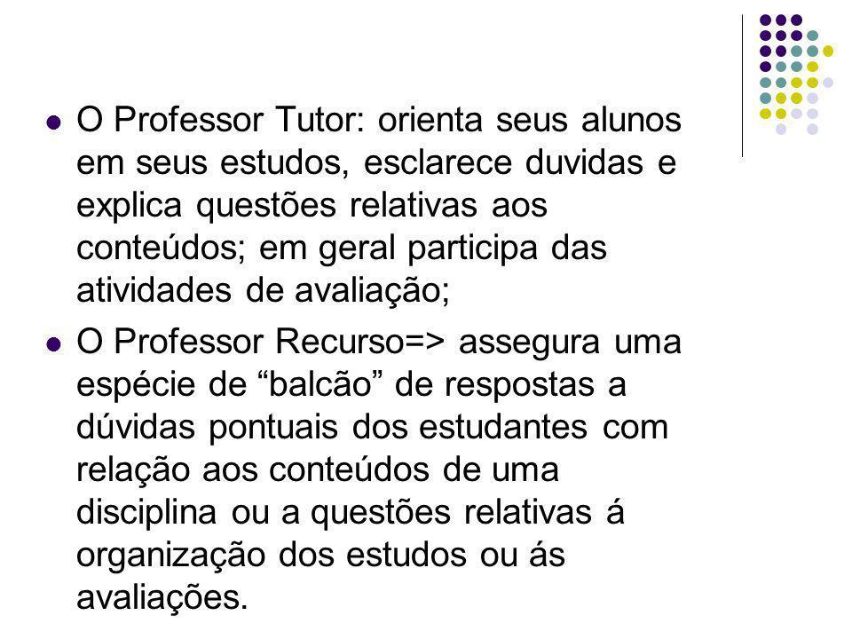 O Professor Tutor: orienta seus alunos em seus estudos, esclarece duvidas e explica questões relativas aos conteúdos; em geral participa das atividades de avaliação;