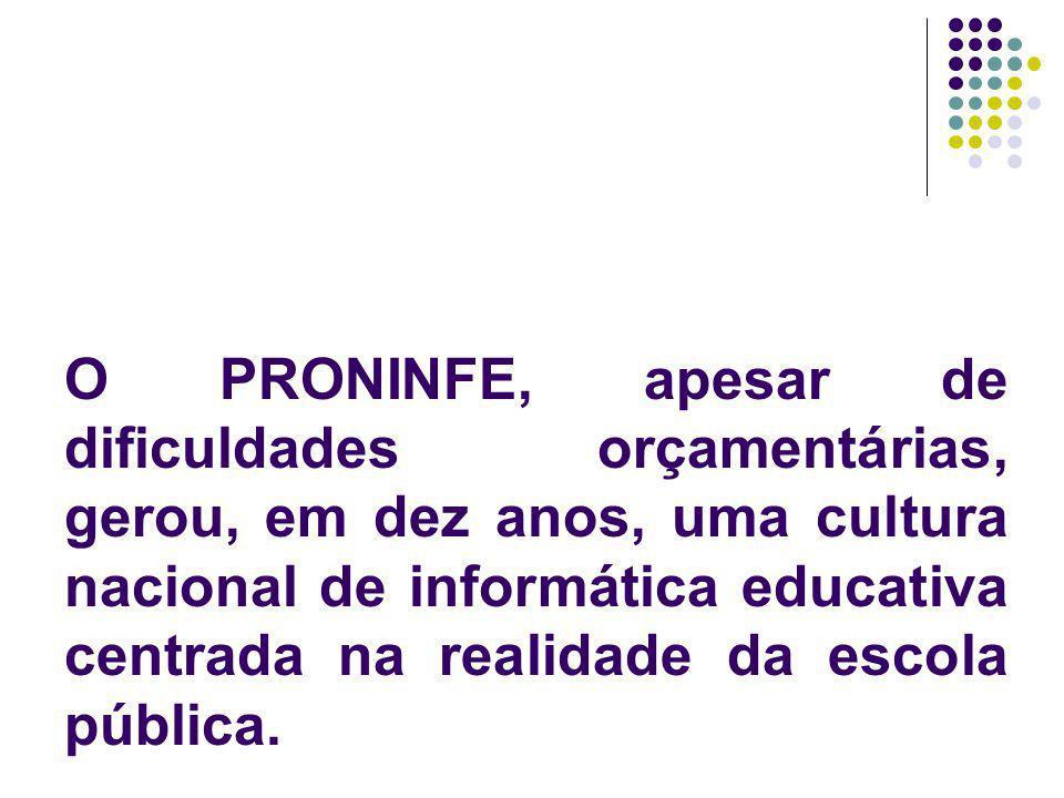 O PRONINFE, apesar de dificuldades orçamentárias, gerou, em dez anos, uma cultura nacional de informática educativa centrada na realidade da escola pública.