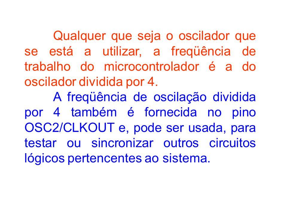 Qualquer que seja o oscilador que se está a utilizar, a freqüência de trabalho do microcontrolador é a do oscilador dividida por 4.