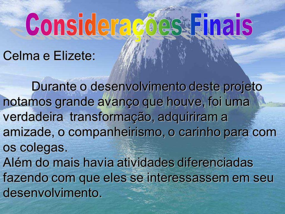 Considerações Finais Celma e Elizete: