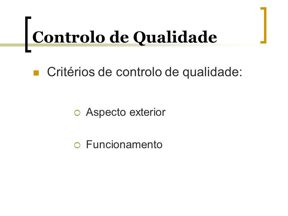 Controlo de Qualidade Critérios de controlo de qualidade: