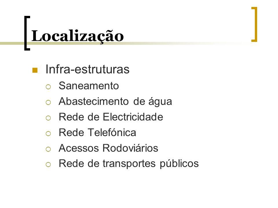 Localização Infra-estruturas Saneamento Abastecimento de água