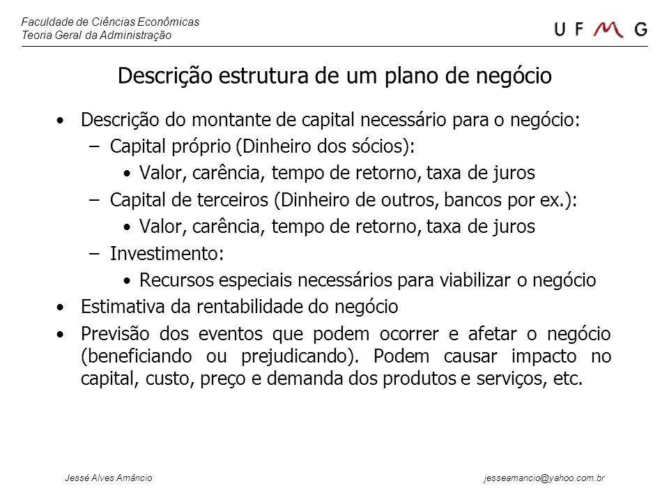 Descrição estrutura de um plano de negócio