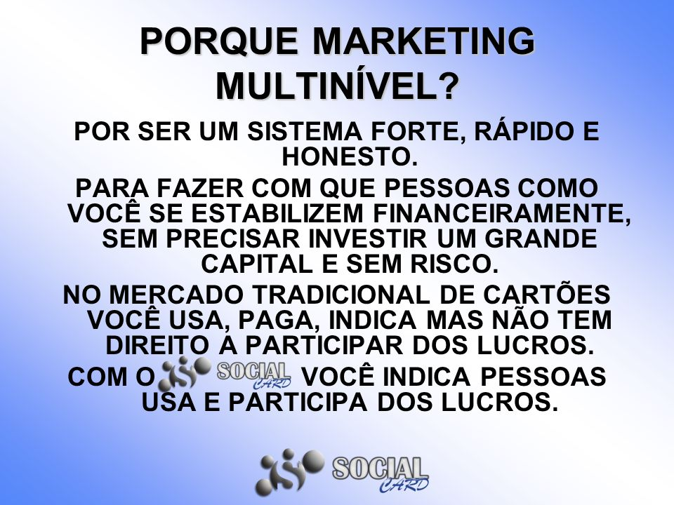 PORQUE MARKETING MULTINÍVEL