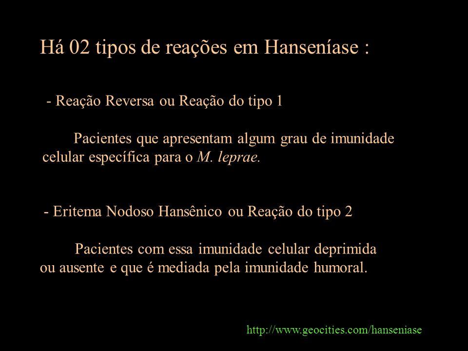 Há 02 tipos de reações em Hanseníase :