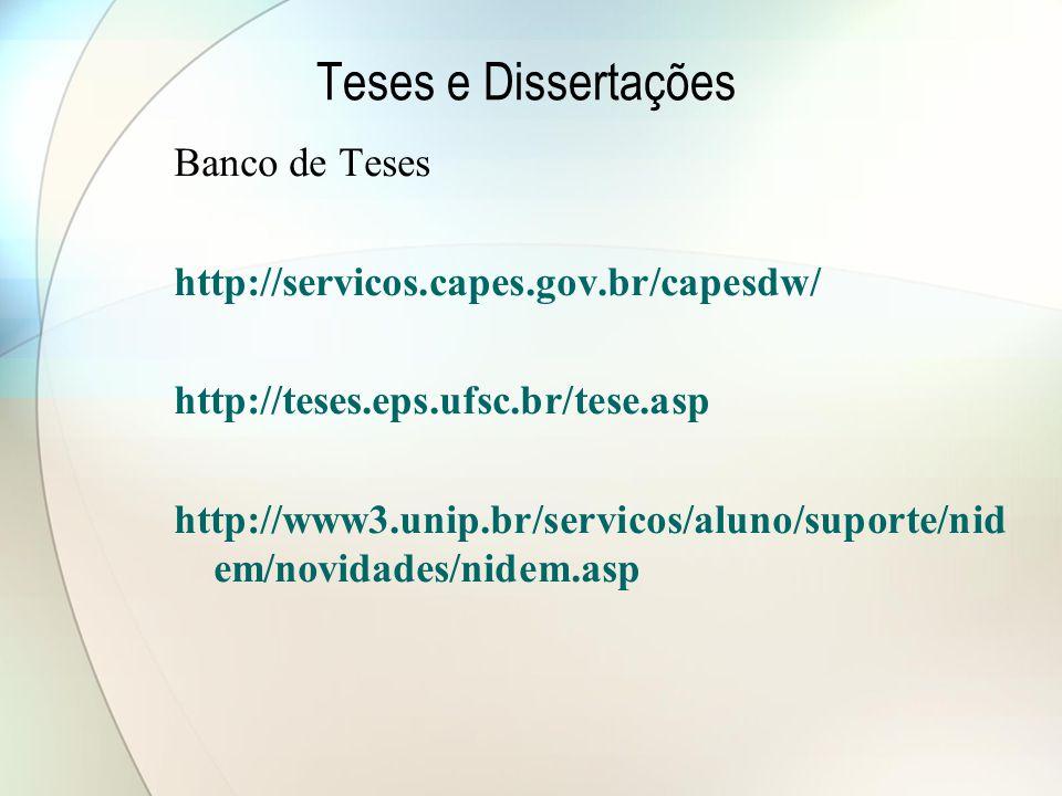 Teses e Dissertações Banco de Teses
