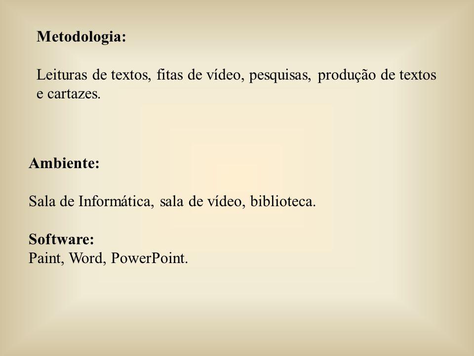 Metodologia: Leituras de textos, fitas de vídeo, pesquisas, produção de textos e cartazes. Ambiente: