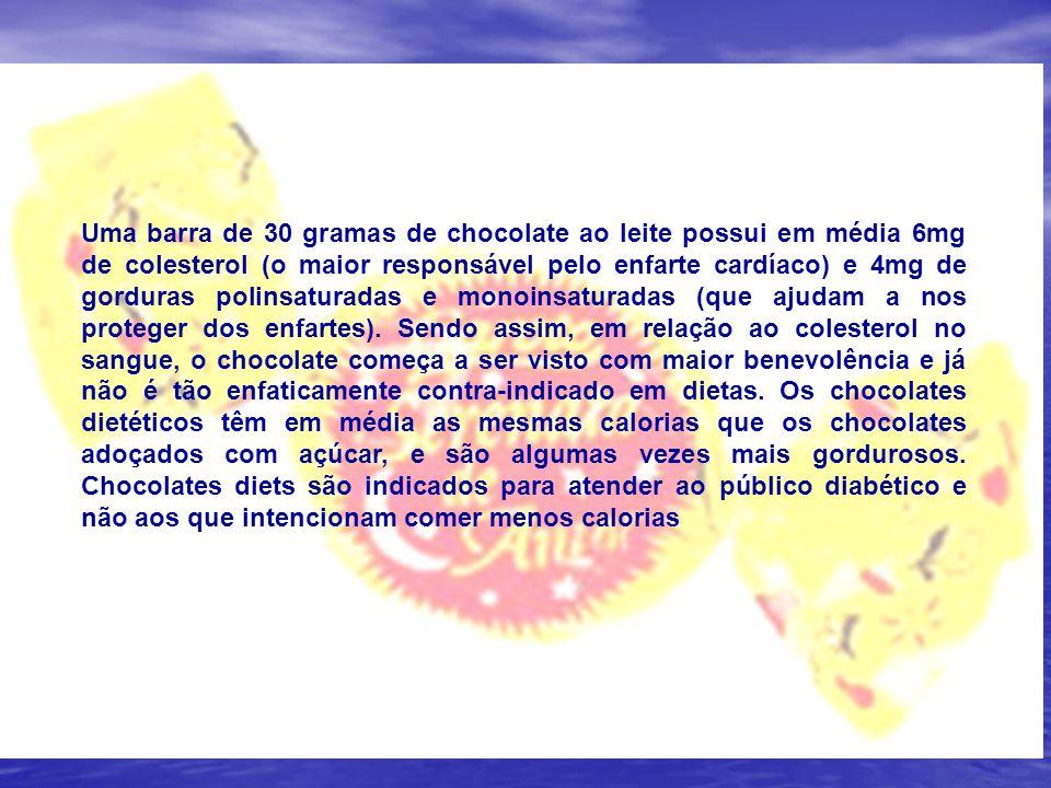 Uma barra de 30 gramas de chocolate ao leite possui em média 6mg de colesterol (o maior responsável pelo enfarte cardíaco) e 4mg de gorduras polinsaturadas e monoinsaturadas (que ajudam a nos proteger dos enfartes). Sendo assim, em relação ao colesterol no sangue, o chocolate começa a ser visto com maior benevolência e já não é tão enfaticamente contra-indicado em dietas. Os chocolates dietéticos têm em média as mesmas calorias que os chocolates adoçados com açúcar, e são algumas vezes mais gordurosos. Chocolates diets são indicados para atender ao público diabético e não aos que intencionam comer menos calorias