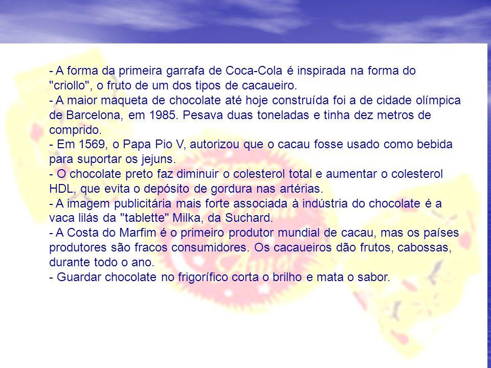 - A forma da primeira garrafa de Coca-Cola é inspirada na forma do criollo , o fruto de um dos tipos de cacaueiro.