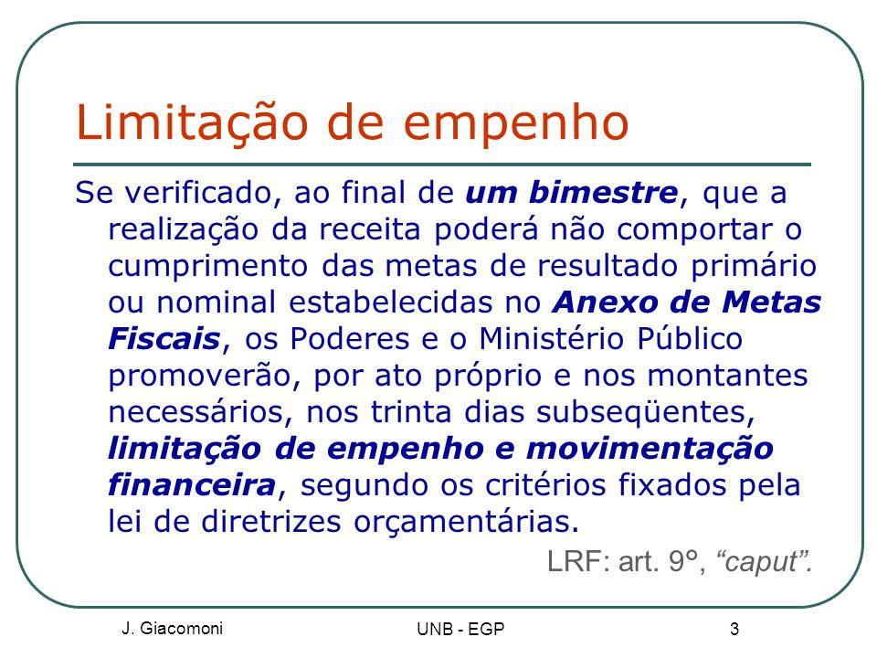Limitação de empenho LRF: art. 9°, caput .