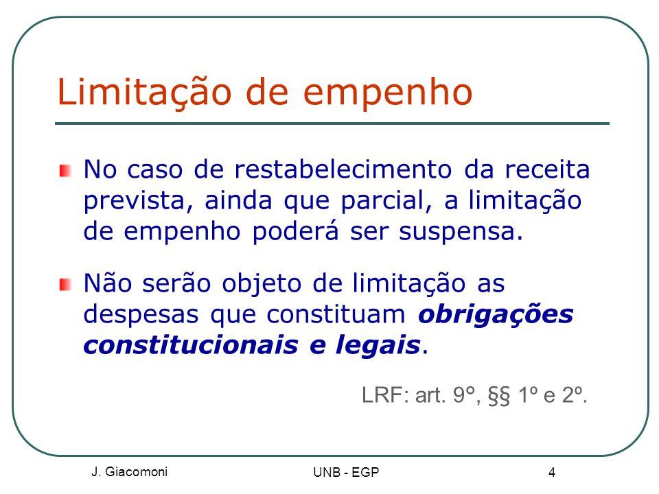 Limitação de empenho No caso de restabelecimento da receita prevista, ainda que parcial, a limitação de empenho poderá ser suspensa.