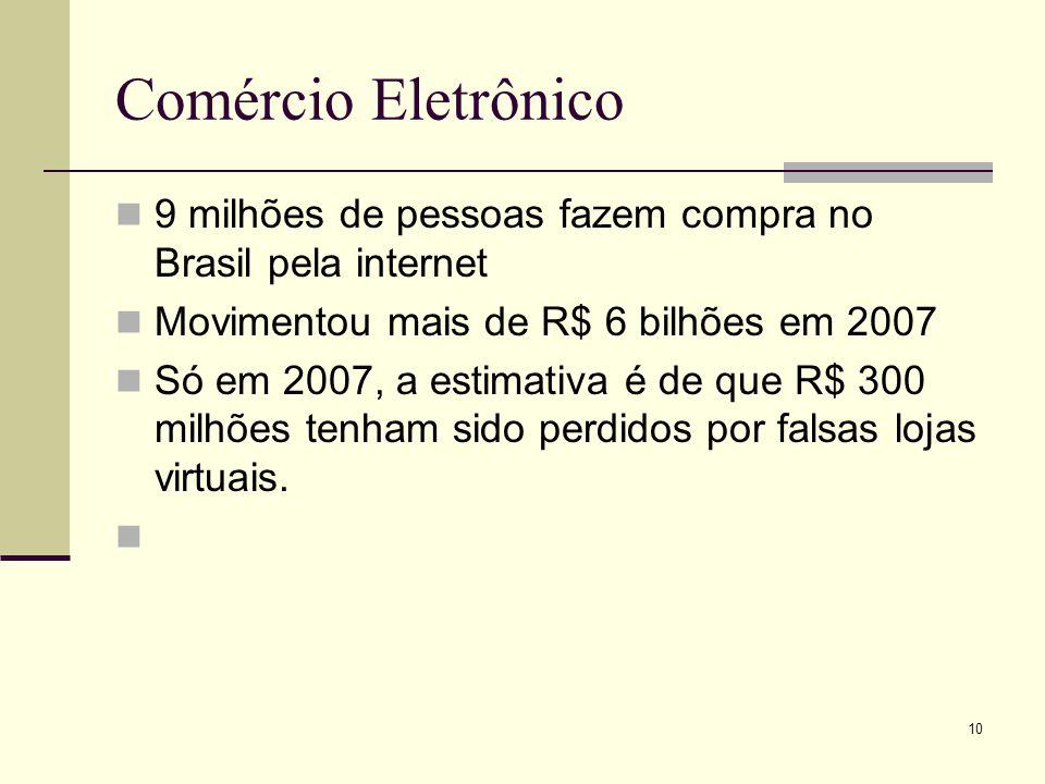 Comércio Eletrônico 9 milhões de pessoas fazem compra no Brasil pela internet. Movimentou mais de R$ 6 bilhões em 2007.
