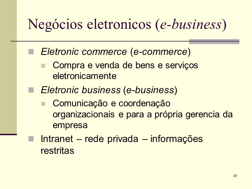 Negócios eletronicos (e-business)