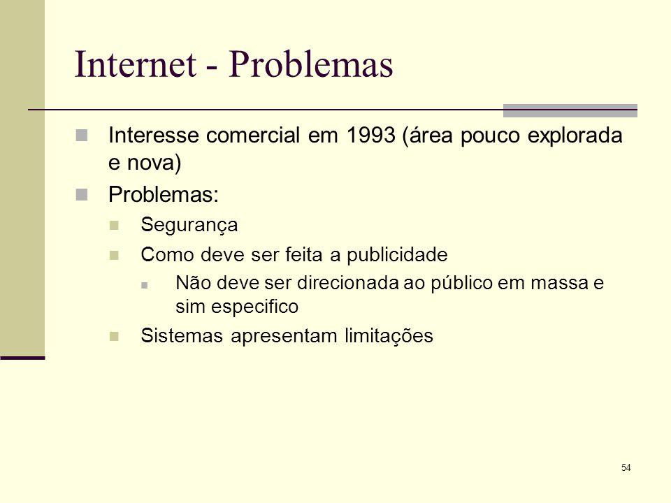 Internet - Problemas Interesse comercial em 1993 (área pouco explorada e nova) Problemas: Segurança.
