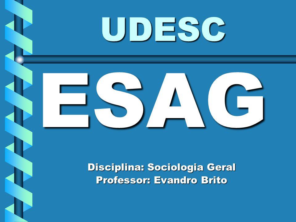 UDESC ESAG Disciplina: Sociologia Geral Professor: Evandro Brito