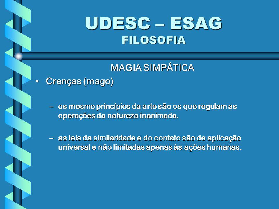 UDESC – ESAG FILOSOFIA MAGIA SIMPÁTICA Crenças (mago)