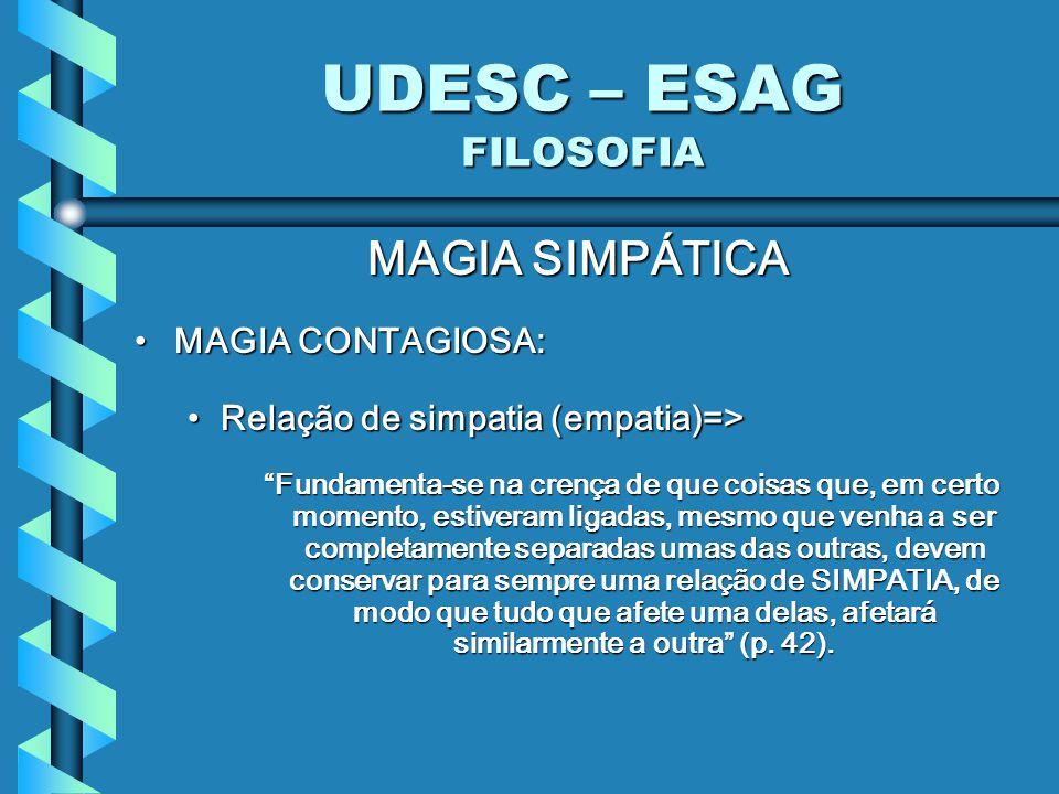 UDESC – ESAG FILOSOFIA MAGIA SIMPÁTICA MAGIA CONTAGIOSA: