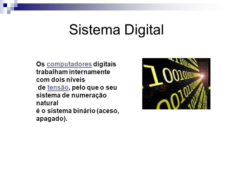 Sistema Digital Os computadores digitais trabalham internamente com dois níveis. de tensão, pelo que o seu sistema de numeração natural.