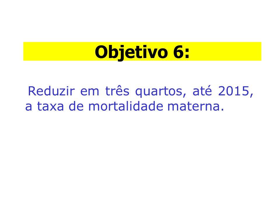Objetivo 6: Objetivo 6: Reduzir em três quartos, até 2015, a taxa de mortalidade materna.